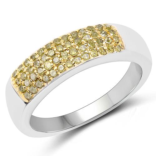 0.22 Carat Genuine Yellow Diamond .925 Sterling Silver Ring