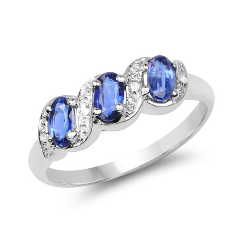 Rings-0.98 Carat Genuine Kyanite and White Topaz .925 Sterling Silver Ring