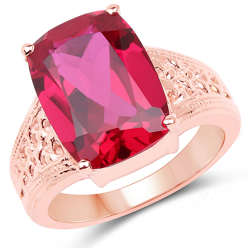 Ruby-14K Rose Gold Plated 9.25 Carat Created Ruby Brass Ring
