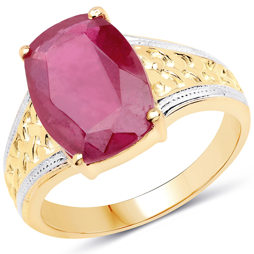 14K Yellow Gold Plated 7.50 Carat Glass Filled Ruby .925 Sterling Silver Ring