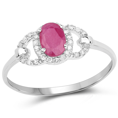 Ruby-0.64 Carat Genuine Ruby and White Diamond 10K White Gold Ring