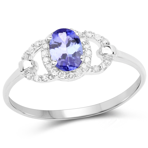 Tanzanite-0.56 Carat Genuine Tanzanite and White Diamond 10K White Gold Ring