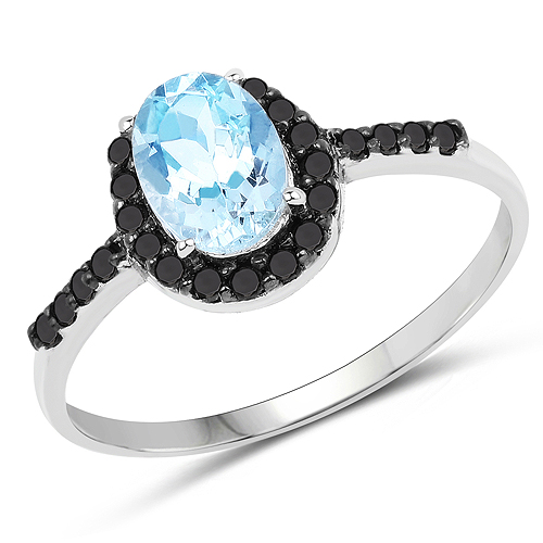 Rings-0.91 Carat Genuine Aquamarine and Black Diamond 10K White Gold Ring