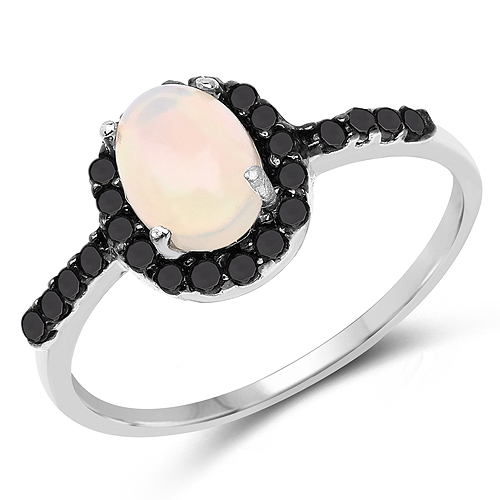 Opal-0.69 Carat Genuine Ethiopian Opal and Black Diamond .925 Sterling Silver Ring