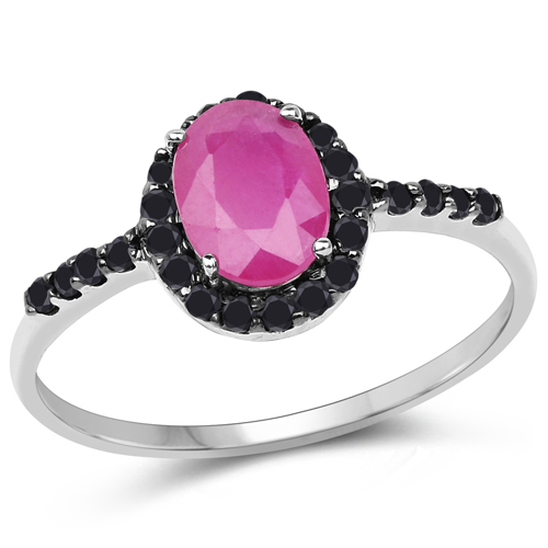 Ruby-1.06 Carat Genuine Ruby and Black Diamond 10K White Gold Ring