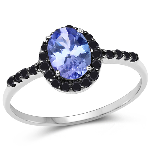 Tanzanite-0.96 Carat Genuine Tanzanite and Black Diamond 10K White Gold Ring