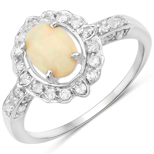 Opal-0.96 Carat Genuine Ethiopian Opal and White Topaz .925 Sterling Silver Ring