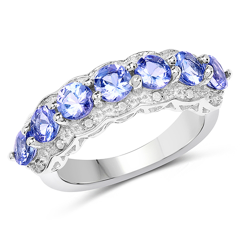 Tanzanite-1.68 Carat Genuine Tanzanite and White Topaz .925 Sterling Silver Ring