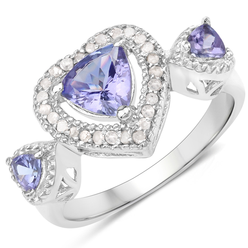 Tanzanite-1.09 Carat Genuine Tanzanite and White Diamond .925 Sterling Silver Ring