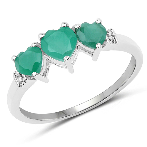 Emerald-0.97 Carat Genuine Emerald and White Diamond 10K White Gold Ring