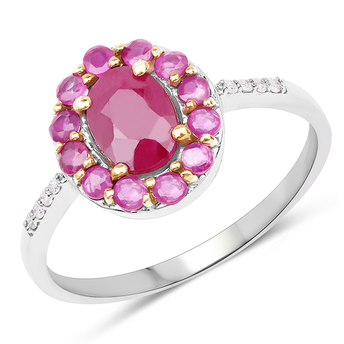 Ruby-1.52 Carat Genuine Ruby & White Diamond 10K White Gold Ring