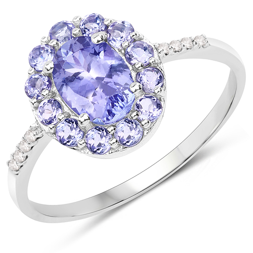 Tanzanite-1.20 Carat Genuine Tanzanite and White Diamond 10K White Gold Ring