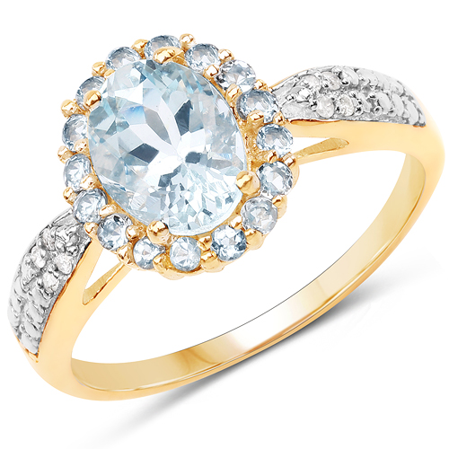 Rings-1.40 Carat Genuine Aquamarine and White Diamond 10K Yellow Gold Ring