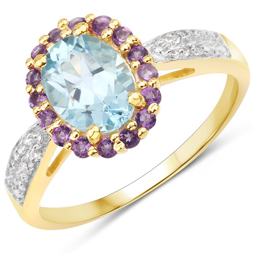 1.60 CT Round Cut Amethyst Opal /& Topaz 14k Yellow Gold Over Eternity Band Ring