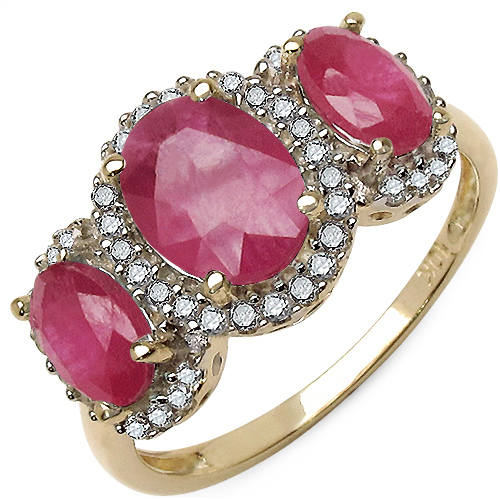 Ruby-2.74 Carat Genuine Ruby and White Diamond 10K Yellow Gold Ring