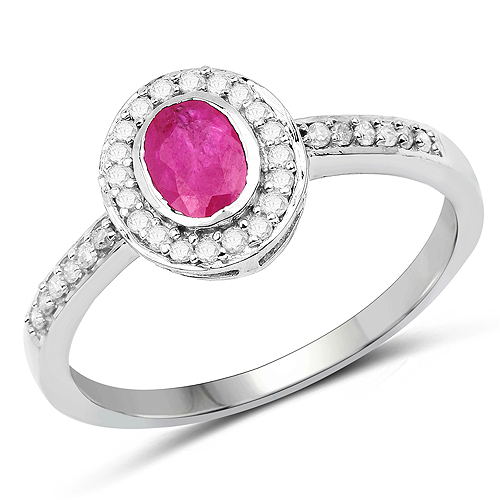 Ruby-0.65 Carat Genuine Ruby and White Diamond 10K White Gold Ring