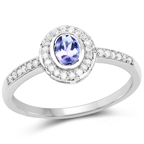 Tanzanite-0.57 Carat Genuine Tanzanite and White Diamond 10K White Gold Ring