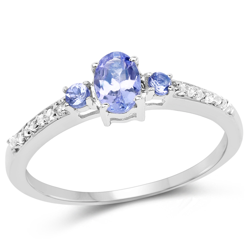 Tanzanite-0.59 Carat Tanzanite & White Diamond 10K White Gold Ring