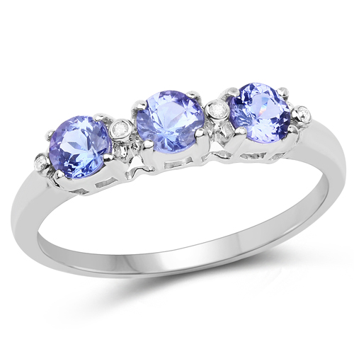 Tanzanite-0.71 Carat Genuine Tanzanite and White Diamond 10K White Gold Ring