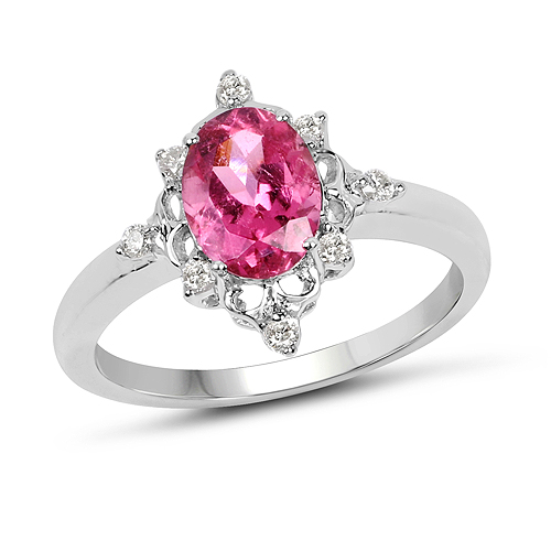 Pink Tourmaline-1.28 Carat Genuine Pink Tourmaline and White Diamond 10K White Gold Ring
