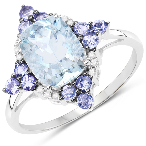 Rings-2.25 Carat Genuine Aquamarine, Tanzanite and White Diamond 10K White Gold Ring