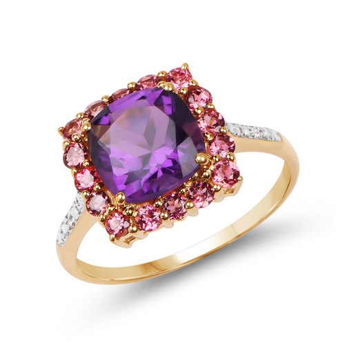 Amethyst-2.38 Carat Genuine Amethyst, Pink Tourmaline and White Diamond 10K Yellow Gold Ring