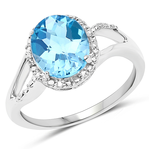Rings-3.29 Carat Genuine Swiss Blue Topaz and White Diamond 10K White Gold Ring