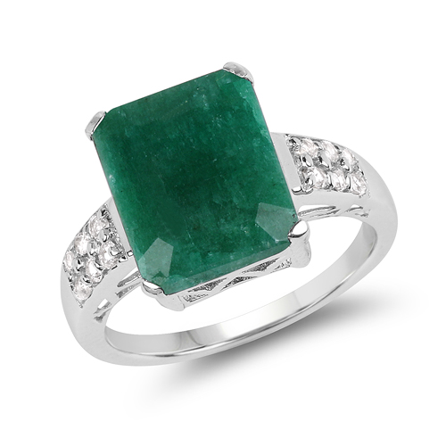 Emerald-6.54 Carat Dyed Emerald & White Topaz .925 Sterling Silver Ring