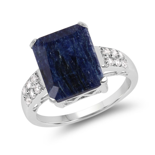 Sapphire-8.05 Carat Dyed Sapphire and White Topaz .925 Sterling Silver Ring