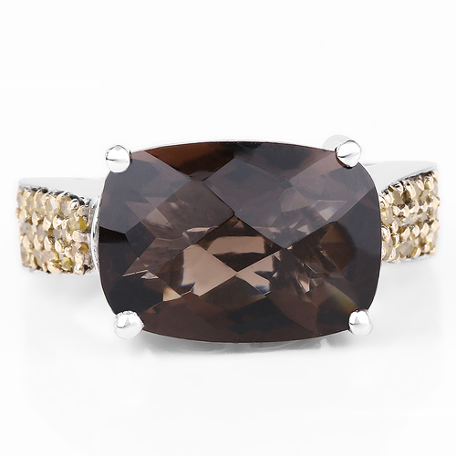 5.27 Carat Genuine Smoky Quartz, Yellow Diamond & White Diamond .925 Sterling Silver Ring