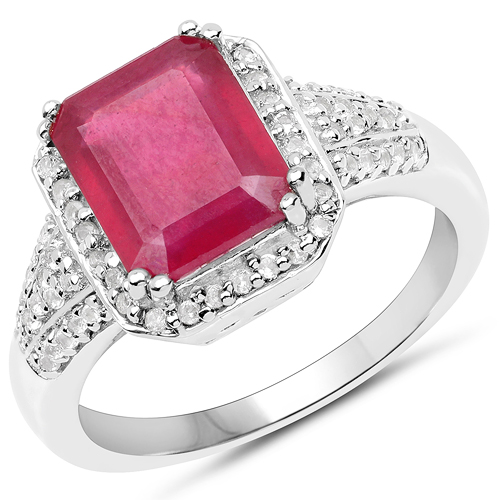 Ruby-4.55 Carat Glass Filled Ruby and White Topaz .925 Sterling Silver Ring