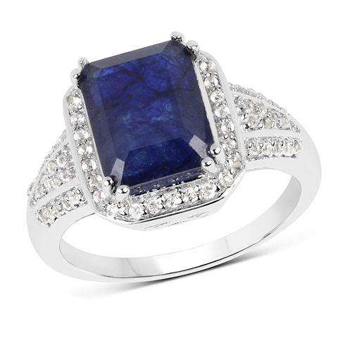 Sapphire-4.80 Carat Glass Filled Sapphire and White Topaz .925 Streling Silver Ring