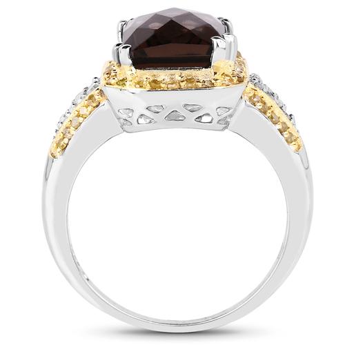 3.48 Carat Genuine Smoky Quartz, Yellow Diamond and White Diamond .925 Sterling Silver Ring