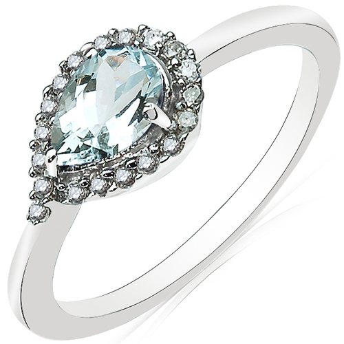 Rings-0.77 Carat Genuine Aquamarine and White Diamond 10K White Gold Ring