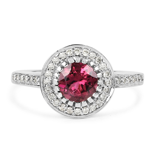 1.29 Carat Genuine Pink Tourmaline & White Diamond 10K White Gold Ring