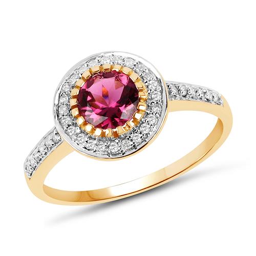 1.29 Carat Genuine Pink Tourmaline & White Diamond 10K Yellow Gold Ring