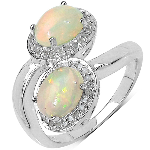 Opal-1.85 Carat Genuine Ethiopian Opal and White Diamond .925 Sterling Silver Ring