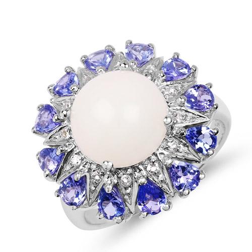 4.25 Carat Genuine Opal, Tanzanite & White Topaz .925 Sterling Silver Ring
