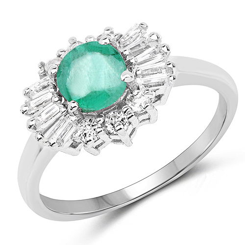 Emerald-1.59 Carat Genuine Zambian Emerald and White Topaz .925 Sterling Silver Ring