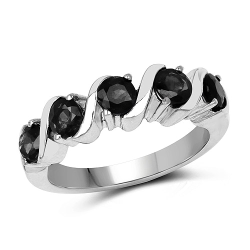 Sapphire-1.65 Carat Genuine Black Sapphire .925 Sterling Silver Ring