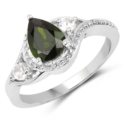 Rings-1.30 Carat Genuine Chrome Diopside and White Topaz .925 Sterling Silver Ring