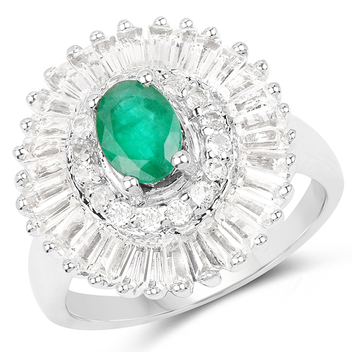 Emerald-2.80 Carat Genuine Emerald & White Topaz .925 Sterling Silver Ring