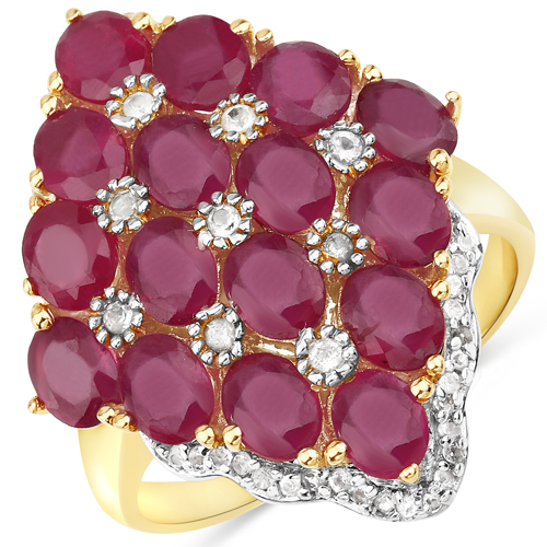 Ruby-14K Yellow Gold Plated 6.49 Carat Glass Filled Ruby and White Topaz .925 Sterling Silver Ring