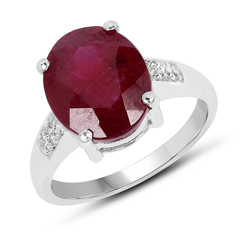 Ruby-5.32 Carat Glass Filled Ruby And White Zircon .925 Sterling Silver Ring