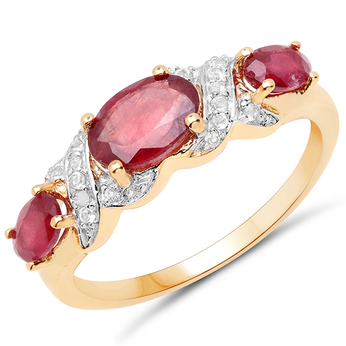 Ruby-14K Yellow Gold Plated 1.65 Carat Glass Filled Ruby and White Topaz .925 Sterling Silver Ring