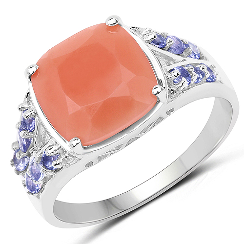 Rings-3.97 Carat Genuine Peach Moonstone and Tanzanite .925 Sterling Silver Ring