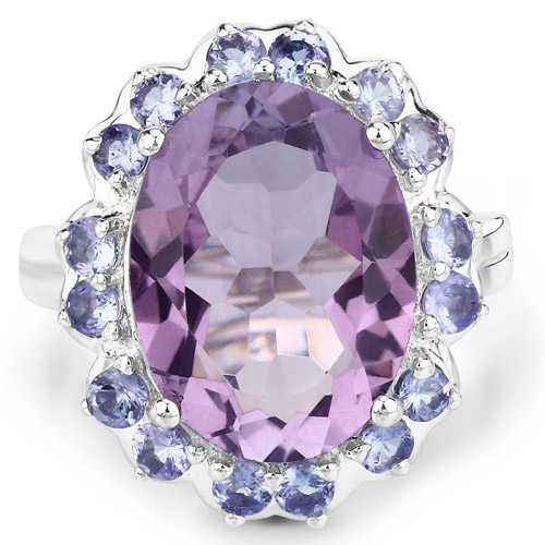 9.32 Carat Genuine Amethyst and Tanzanite .925 Sterling Silver Ring