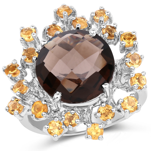 Rings-6.94 Carat Genuine Smoky Quartz and Citrine .925 Sterling Silver Ring