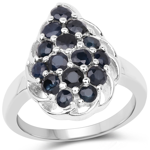 Sapphire-1.62 Carat Genuine Blue Sapphire .925 Sterling Silver Ring