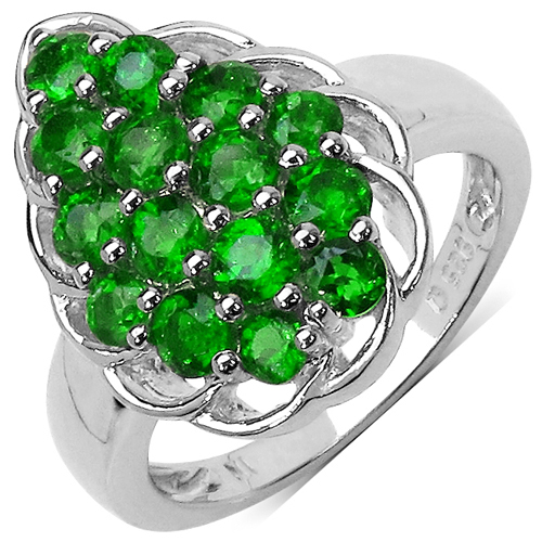 Rings-1.71 Carat Genuine Chrome Diopside .925 Sterling Silver Ring